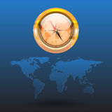 在世界地图的指南针 免版税库存图片