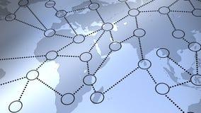 在世界地图的社会网络 库存照片