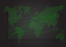 在世界地图的股市图表 免版税库存照片