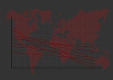 在世界地图的股市图表 库存图片