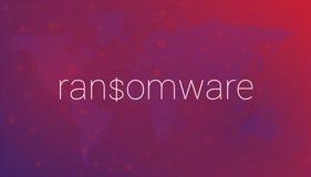 在世界地图的背景的词ransomware 库存照片