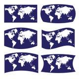 在世界地图的蓝色和白色各种各样的看法  免版税库存照片