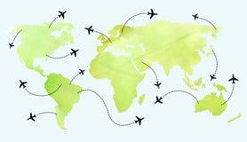 在世界地图的飞机路线 图库摄影
