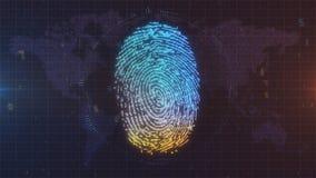 在世界地图背景的蓝色和橙色指纹ID 图库摄影