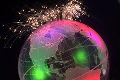 在世界地球的纤维光学导线 免版税库存照片