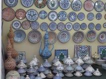 在世界村的突尼斯瓦器在迪拜,阿拉伯联合酋长国 库存图片