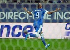 在世界杯足球赛淘汰赛期间,康斯坦丁诺斯Mitroglou庆祝目标 图库摄影