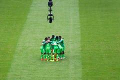 在世界杯足球赛2014的尼队被摄制的巴西 库存图片