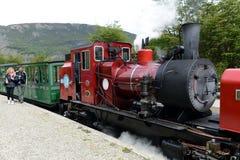 在世界的最南端的铁路在地球边缘 免版税库存照片