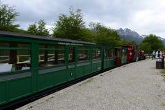 在世界的最南端的铁路在地球边缘 免版税库存图片