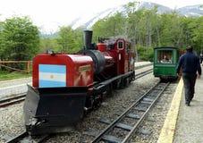 他在世界的最南端的铁路在地球边缘 库存图片