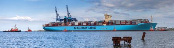 在世界的最大的集装箱船在格但斯克,波兰港。 免版税图库摄影
