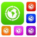 在世界行星集合颜色收藏附近的圆的箭头 免版税图库摄影