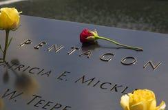 在世界贸易中心爆心投影,纽约的全国9月11日纪念品 图库摄影
