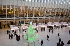 在世界贸易中心的圣诞树,纽约 免版税库存照片