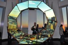 在世界贸易中心一号大楼的城市脉冲在纽约 免版税库存图片