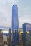 在世界贸易中心一号大楼的鸟瞰图 免版税图库摄影
