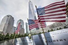 在世界贸易中心爆心投影的纪念品 库存图片