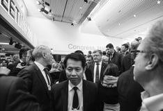 在世界经济论坛期间的运作的片刻在达沃斯 免版税库存照片