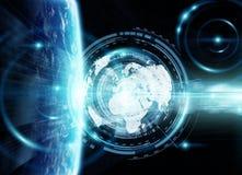 在世界3D翻译的数据交换和全球网络 免版税库存图片