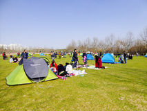 在世纪公园里面的帐篷 图库摄影