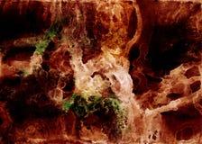 在丙烯酸酯和水彩的手拉的抽象飘渺艺术品绘与明亮的萤光褐色,乌贼属的样式,金黄 向量例证