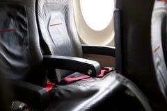 在业务分类的一架飞机里面 库存图片