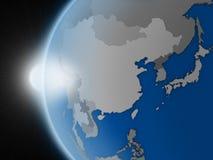 在东亚地区的日落从空间 向量例证
