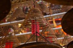 在东华三院文武庙的香火卷在香港 免版税库存照片