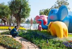 在东南亚国家联盟花节日的摄影师作为大象模型2014年在清莱泰国 免版税库存照片