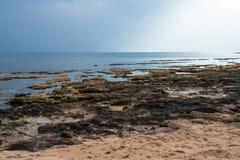 在东南海岸塞浦路斯的海岸线 免版税库存照片