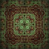 在东方样式花荧光的马赛克样式的无缝的光栅样式墙纸的,背景,挂毯的装饰,鲤鱼 库存例证