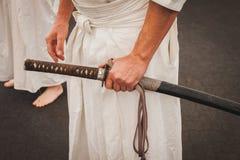 在东方节日的日本刀剑在米兰,意大利 免版税库存图片