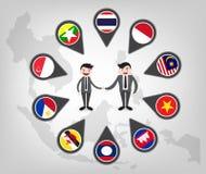 在东盟国家(aec)之间的合作 免版税库存图片
