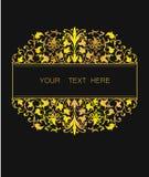 在东部样式的传染媒介花卉框架 设计的华丽元素 安置文本 金黄婚姻的邀请的线艺术装饰品 免版税库存图片
