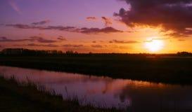 在东Frisia的日落 免版税库存照片
