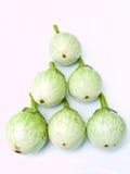 在丝毫查出的新鲜的绿色茄子pyrmid  库存图片