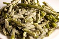 在丝毫的冷冻绿色扁豆 库存照片