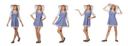 在丝毫隔绝的格子花呢披肩简单的礼服和帽子的微笑的妇女 库存照片