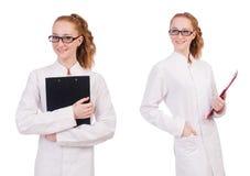 在丝毫隔绝的黏合剂的年轻医科学生文字 免版税库存照片