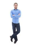 在丝毫隔绝的蓝色衬衣的年轻阿拉伯有胡子的商人 免版税库存照片
