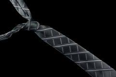 在丝绸的灰色领带与条纹 库存照片