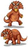 在两个不同姿势的布朗rubeosaurus 库存图片
