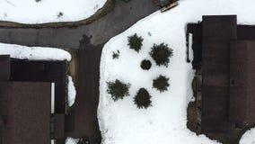 在两个房子中间,在雪中,芬芳灌木被看见 股票视频