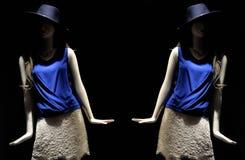 在两个时装模特拍的一张低调照片 免版税库存照片