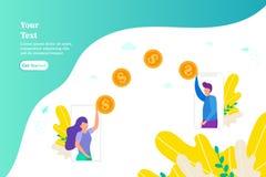 在两个智能手机之间的汇款,网上付款的概念使用电话,女孩的给金钱,支付工作,donati的概念 图库摄影