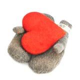 在两个灰色手套的红色心脏 库存图片