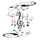 在两层数的音乐笔记 免版税库存照片