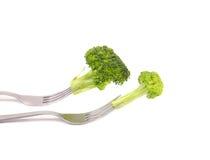 在两把叉子的不同的broccolies。 库存照片