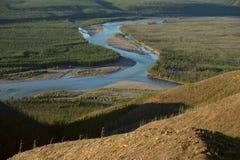 在两条河的合流的看法 库存图片
